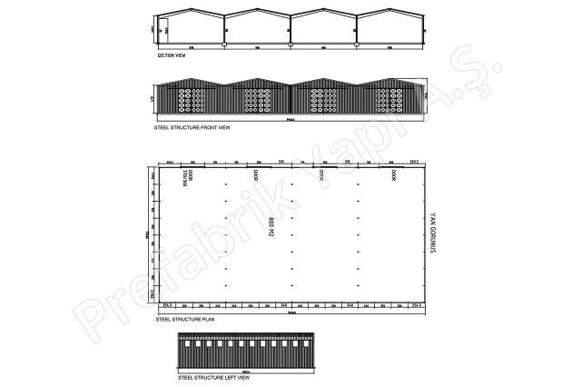 Çelik Yapı 800 m2 Plan