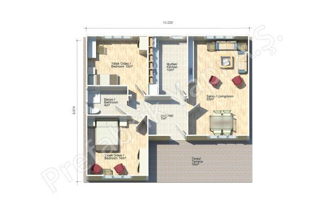 Dalyan 92 m2 Plan