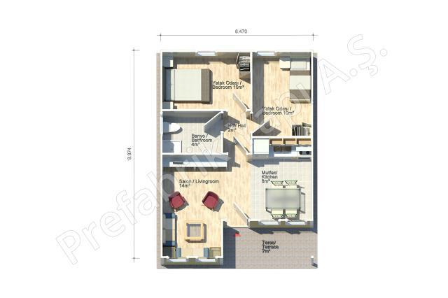 Demre 58 m2 Plan