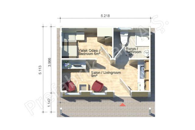 Dicle 27 m2 Plan