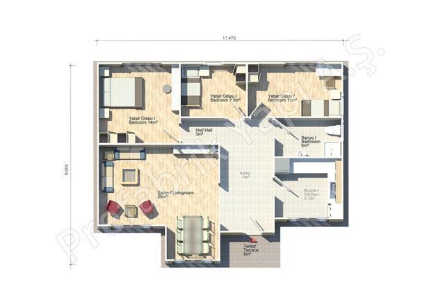 Kapadokya 95 m2 Plan