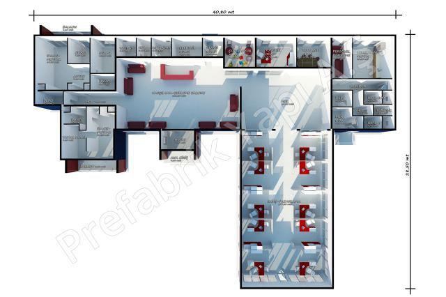 Satış Ofisi 645 m2 Plan