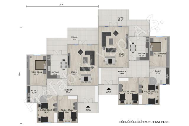 Tek Katlı İkiz Evler Plan
