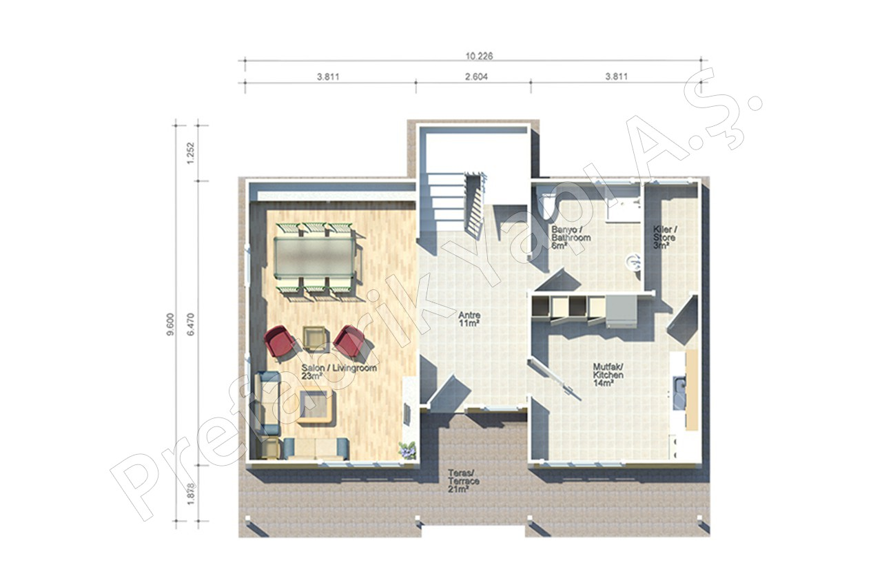 T rk mimarisi villa for Villa blueprint design
